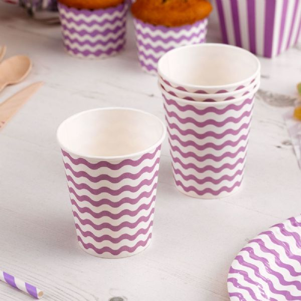 Carnival Purple Paper Cups - Waves (8)